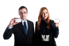 Young business workers showing their business cards Stock Photography