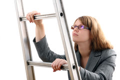 The Young businesslady with Ladder Royalty Free Stock Photo