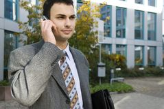 Young businessman. On a cellphone Royalty Free Stock Photos