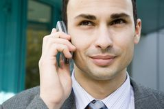 Young businessman. On a cellphone Stock Image