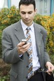 Young businessman. On a cellphone Royalty Free Stock Images