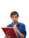 Young businessman. With pen and documents, isolated Royalty Free Stock Photography
