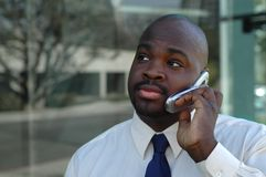 Young businessman. Businessman listening carefully to a business proposition Stock Photography