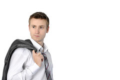 Young businessman. Young successful businessman with jacket over his Shoulders Royalty Free Stock Image