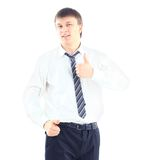Young businessman. Going thumb up, isolated on white Royalty Free Stock Photo
