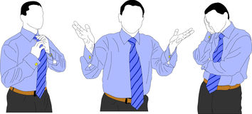 Young businessman. Shown the young businessman from the different sides. The first illustration shows as he adjusting tie; the second illustration shows that he Royalty Free Stock Photos