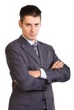 Young businessman. Young caucasian businessman in a suite, standing, isolated on white Stock Photos