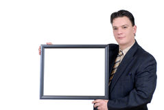 Young Businessman with advertising board Stock Photos