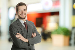 Young Businessman at the airport Stock Image