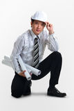Young businessman architect. On grey background with clipping path stock images