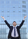 Young Businessman with arms raised Royalty Free Stock Photos