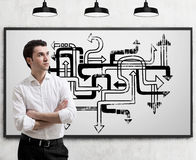 Young businessman and arrow maze Stock Photo