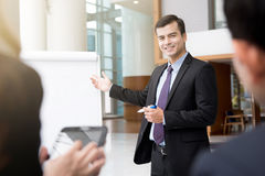 Young businessman as a meeting leader Royalty Free Stock Image