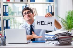 The young businessman asking for help in office Royalty Free Stock Photos