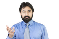 Young businessman asking question Stock Images