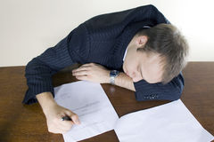 Young businessman Asleep in the office Royalty Free Stock Images