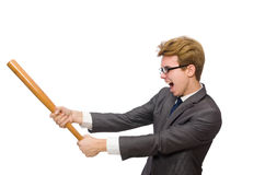 Young businessman with baseball bat isolated on Stock Image