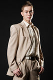 Young businessman in beige suit Stock Photo