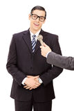 Young businessman being interviewed Royalty Free Stock Photo