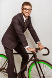 Young businessman with bicycle Stock Photos