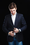Young businessman black suit Royalty Free Stock Photography