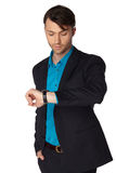 Young businessman black suit casual poses Royalty Free Stock Images
