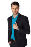 Young businessman black suit casual poses Stock Photos
