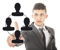 Young businessman with black virtual friends isolated Royalty Free Stock Image