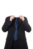 Young businessman with blank board over his face Stock Photos