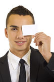 Young businessman with blank card Stock Photo