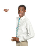 Young Businessman with blank sign Stock Photography