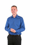 Young businessman in blue shirt Royalty Free Stock Image