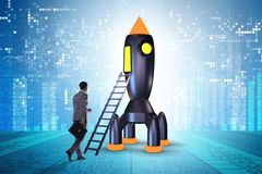 The young businessman boarding space rocket in start-up concept. Young businessman boarding space rocket in start-up concept stock images