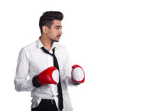 Young businessman boxer in boxing gloves Royalty Free Stock Image