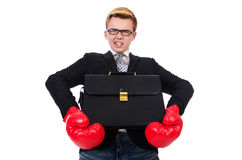 Young businessman boxer Stock Photo