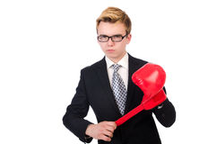 Young businessman boxer Stock Photography