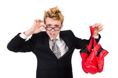 Young businessman boxer Royalty Free Stock Photos