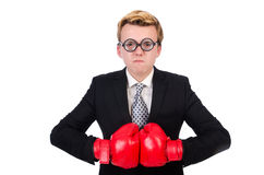 Young businessman boxer Stock Photos