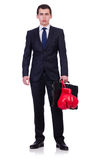 Young businessman boxer isolated Stock Images
