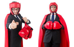 The young businessman boxer isolated on white Stock Images