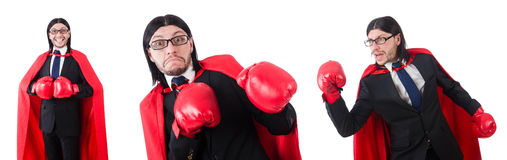 The young businessman boxer isolated on white Royalty Free Stock Photos