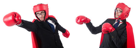 The young businessman boxer isolated on white Stock Photos