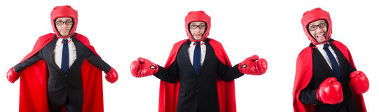 The young businessman boxer isolated on white Stock Photo