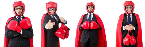 The young businessman boxer isolated on white Royalty Free Stock Image