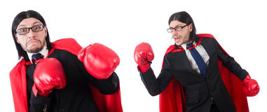 The young businessman boxer isolated on white Royalty Free Stock Photography