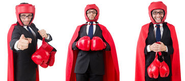 The young businessman boxer isolated on white Stock Photography