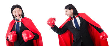 The young businessman boxer  on white Stock Image