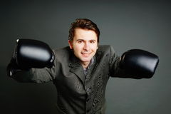 Young businessman boxing Stock Photo