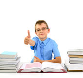 Young businessman boy with books Stock Images