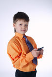 Young businessman boy on white Stock Images